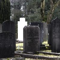 Vervallen graven op begraafplaats Landscroon in Weesp